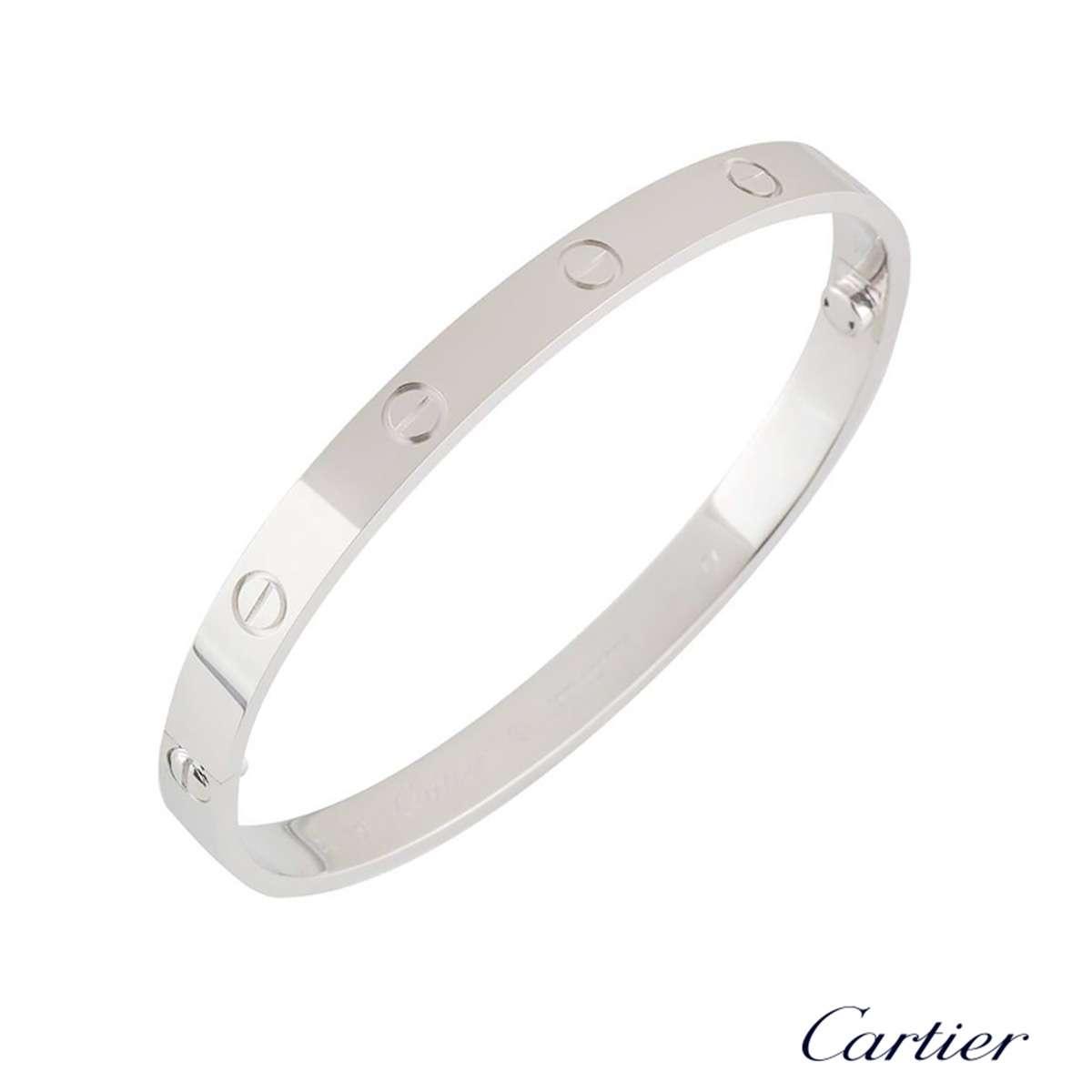 Cartier White Gold Plain Love Bracelet Size 19 B6035419